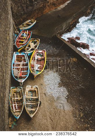 Local Traditional Fishing Boats Under Shelter During Storm In Atlantic Ocean. View From Above, View