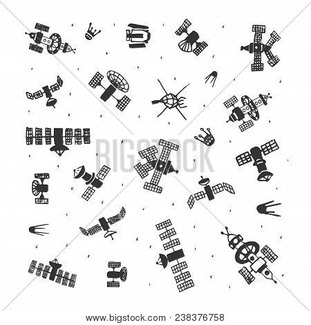 Vector Set Of Hand Painted Doodle Space Satellite. Sketch Space Satellite