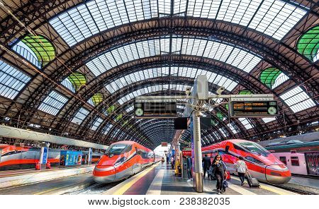 Milan, Italy - May 17, 2017: Modern High-speed Trains At The Railway Milan Central Station. Industri