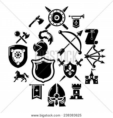 Knight Medieval Icons Set. Simple Illustration Of 16 Knight Medieval Vector Icons For Web