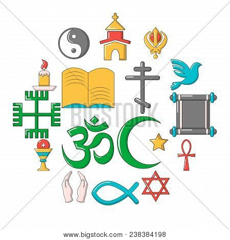 Religion Icons Set. Cartoon Illustration Of 16 Religion Vector Icons For Web
