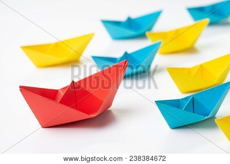 Leadership, Influencer, Kol, Key Opinion Leader Concept, Big Red Paper Ship Origami In Front Of Othe