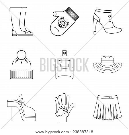 Womanlike Icons Set. Outline Set Of 9 Womanlike Vector Icons For Web Isolated On White Background