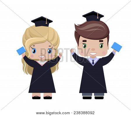 Boy And Girl Graduates Happy, In Graduation Caps And Gowns, With Diplomas, Smiling, With His Hands R