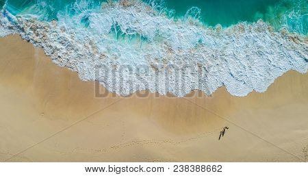 Top View Aerial Photo From Flying Drone Of Beautiful Sea Landscape With Turquoise Water With Copy Sp