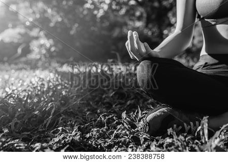 Yoga In The Park, Outdoor With Effect Light, Health Woman, Yoga Woman.  Black And White. Yoga Lifest