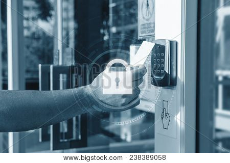 Hand Using Security Key Card Scanning Open The Door To Entering Private Building With Lock Icon Tech