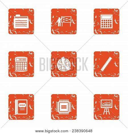 Boost The Economy Icons Set. Grunge Set Of 9 Boost The Economy Vector Icons For Web Isolated On Whit