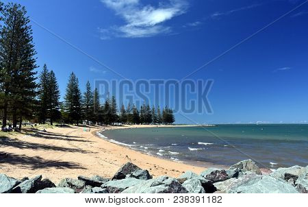 Scarborough Beach On A Sunny Day At Christmas Time (redcliffe, Qld, Australia). Trees Around The Bea