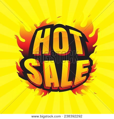 Hot Sale Burning Labels Discount And Tags For Hot Sale. Banner. Marketing. Business. Percent. On Yel
