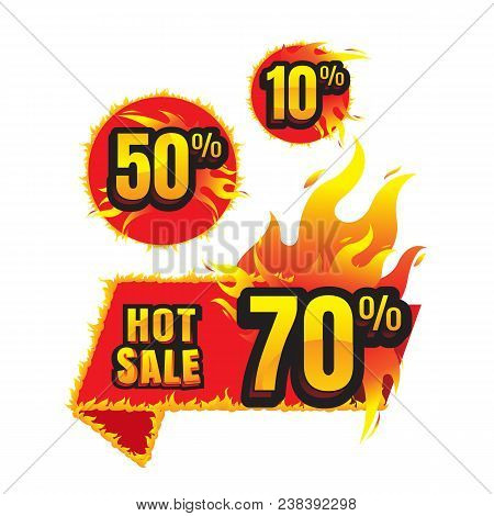 The Set Of Hot Sale Burning Labels Discount 10%. 50%. 70% And Tags For Hot Sale. Banner. Marketing.