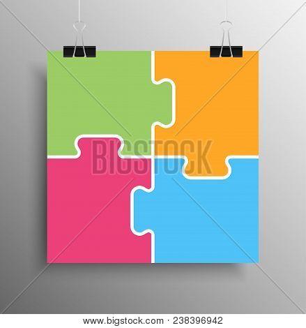 Poster Banner. Four Colour Piece Puzzle Infographic Presentation. 4 Step Square Business Diagram. Fo