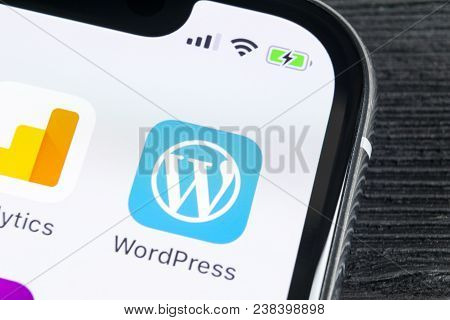 Sankt-petersburg, Russia, April 27, 2018: Wordpress Application Icon On Apple Iphone X Screen Close-