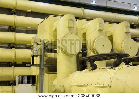 Industrial Zone, Steel Pipelines And Equipment In Power Plant