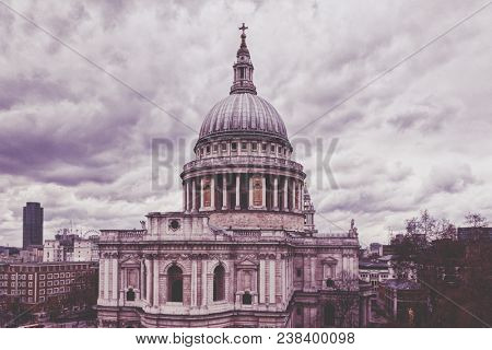 Saint Paul's Cathedral in London with dramatic sky