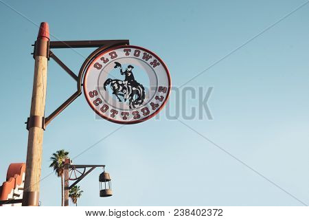 SCOTTSDALE, ARIZONA, USA - April 27, 2018: Old Town Sign. The historic district of Old Town Scottsdale is marked with distinctive signage.