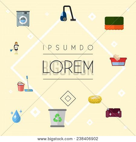 Set Of Cleaning Icons Flat Style Symbols With Bucket With Besom, Sponge, Hand Wash Icons For Your We