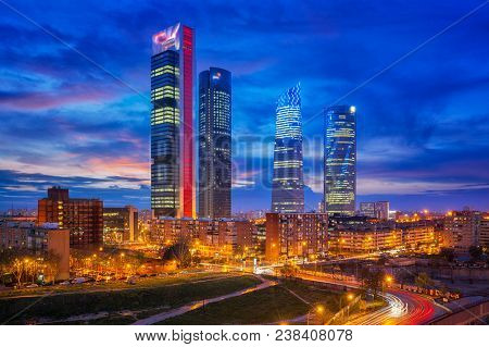 Madrid, Spain Financial District Skyline At Twilight In Madrid City.
