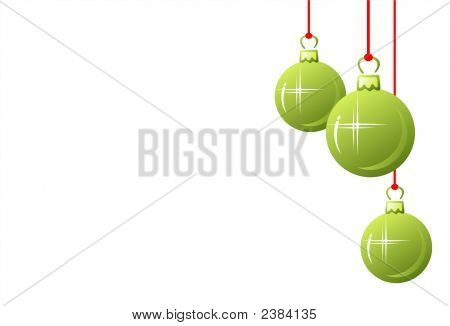 Drei grüne Weihnachtskugel