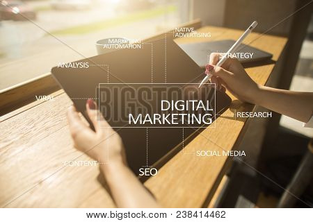 Digital Marketing Technology Concept. Internet. Online. Search Engine Optimisation Seo Smm. Advertis