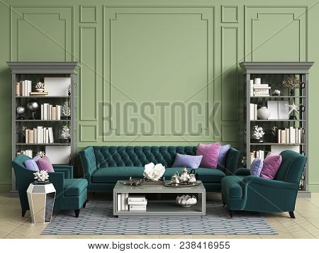 Classic Interior In Green Colors With Copy Space.sofa And Chairs In Blue And Pink Colors,sidetables