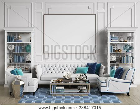 Classic Interior Room In Blue And White Colors With Copy Space.sofa And Chairs,sidetables With Lamps