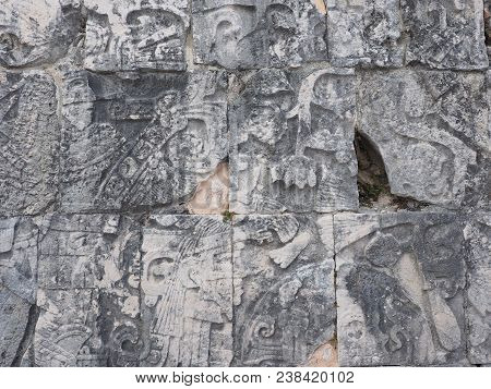 Fragment Of Ancient Mayan Stony Relief With Pictograph At Ruins Of Chichen Itza City In Mexico, Most