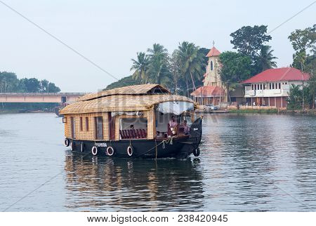 Alleppey, India - November 6, 2016: Tourists On Houseboat Floating In Backwaters In Kerala State
