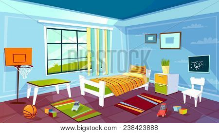 Child Room Vector Illustration Of Kid Boy Bedroom Interior Background. Cartoon Flat Design Of Teen C