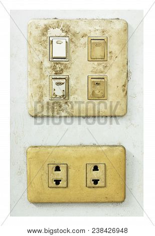 Grunge And Dirty Outdated Electrical Wall Plug With Switch