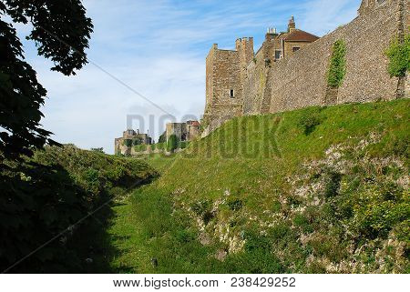 Exterior View Of Dover Castle, Kent, England, United Kingdom. Dover Castle Is The Largest Castle In