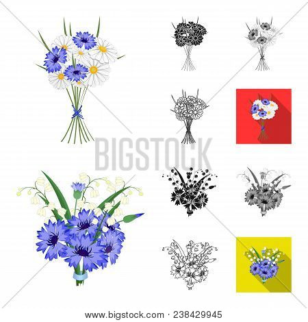A Bouquet Of Fresh Flowers Cartoon, Black, Flat, Monochrome, Outline Icons In Set Collection For Des