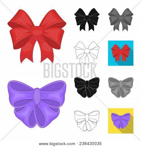 Multicolored Bows Cartoon, Black, Flat, Monochrome, Outline Icons In Set Collection For Design.bow F