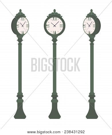 Green Street Clock Set. Sidewalk Post Streetscape Or Park Setting Device For Measuring Time, Hours,