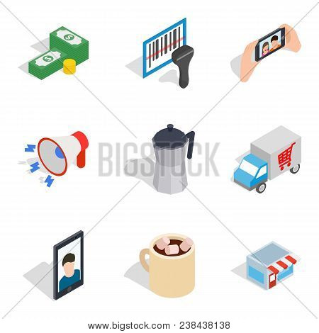 Young Lady Icons Set. Isometric Set Of 9 Young Lady Vector Icons For Web Isolated On White Backgroun