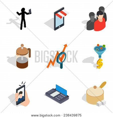 Dame Icons Set. Isometric Set Of 9 Dame Vector Icons For Web Isolated On White Background