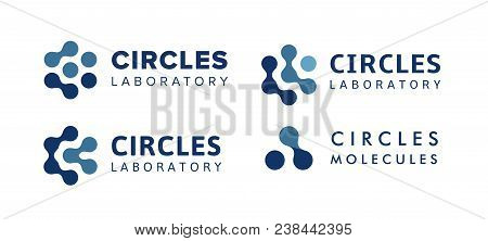 Abstract Isolated Logo From Blue Connect Dots, Hexagon Logos Template, Molecular Equipment Sign, Nan