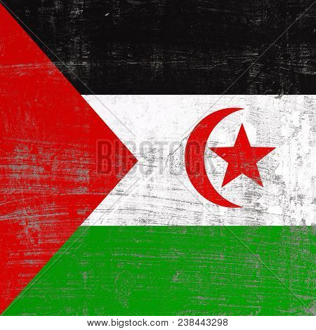 3d Rendering Of Sahrawi Arab Democratic Republic Flag In A Scratched Surface