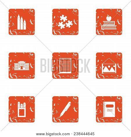 Study Undertaking Icons Set. Grunge Set Of 9 Study Undertaking Vector Icons For Web Isolated On Whit