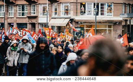 Strasbourg, France  - Mar 22, 2018: Cgt Flags At Demonstration Protest Against Macron French Governm