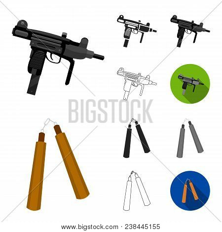 Types Of Weapons Cartoon, Black, Flat, Monochrome, Outline Icons In Set Collection For Design.firear