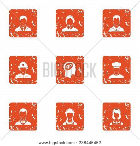 Skill Character Icons Set. Grunge Set Of 9 Skill Character Vector Icons For Web Isolated On White Ba