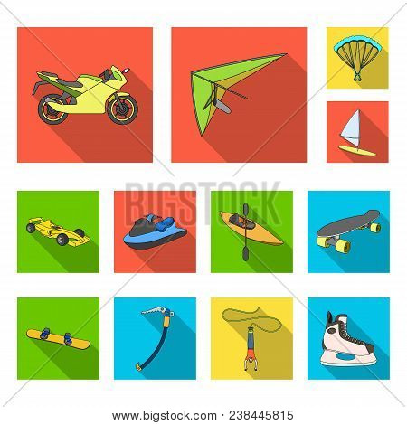 Extreme Sport Flat Icons In Set Collection For Design.different Kinds Of Sports Vector Symbol Stock