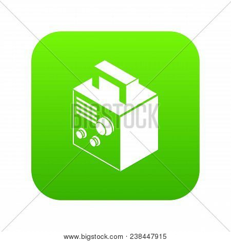 Electro Welding Machine Icon Green Vector Isolated On White Background