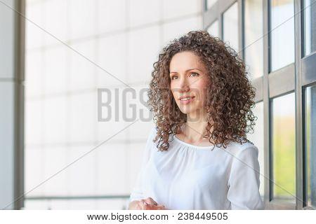 Curly hair smile girl