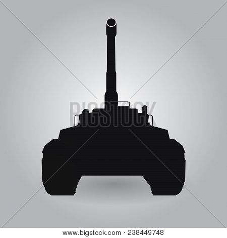 Black Big Military Tank Silhouette Illustration With High Detailed And Front View Point. Illustrated
