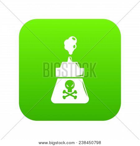 Poison Icon Green Vector Isolated On White Background