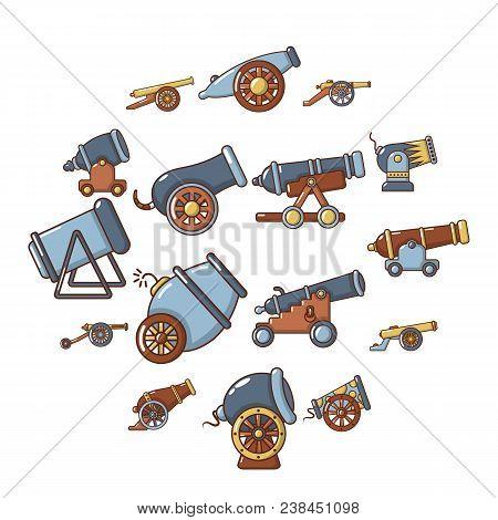Cannon Retro Icons Set. Cartoon Illustration Of 16 Cannon Retro Vector Icons For Web