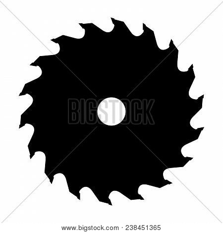 Silhouette Of Saw Blade For Circular Saw. Vector Illustration