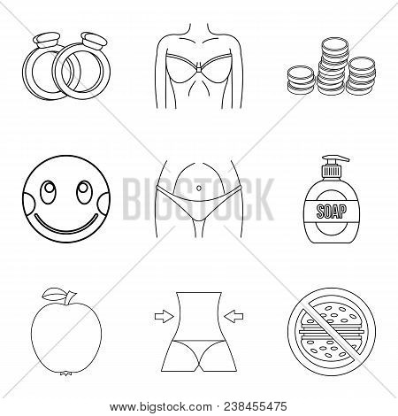 Gracefulness Icons Set. Outline Set Of 9 Gracefulness Vector Icons For Web Isolated On White Backgro